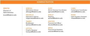 Click on the image for a text file listing the Administration staff and their contact information.