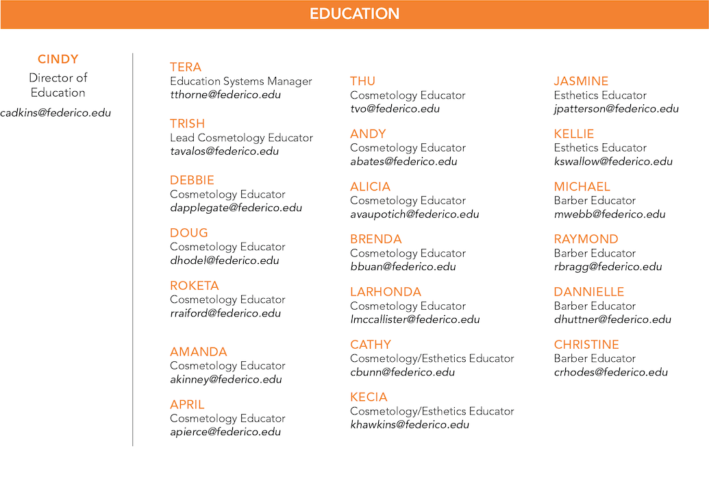 A list of the Education staff at Federico. Click on the image for a text file list.