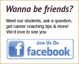 Text on the graphic says Wanna be friends? Meet our students, ask a question, get career coaching tips and more! We'd love to see you. Click here to join us on Facebook.