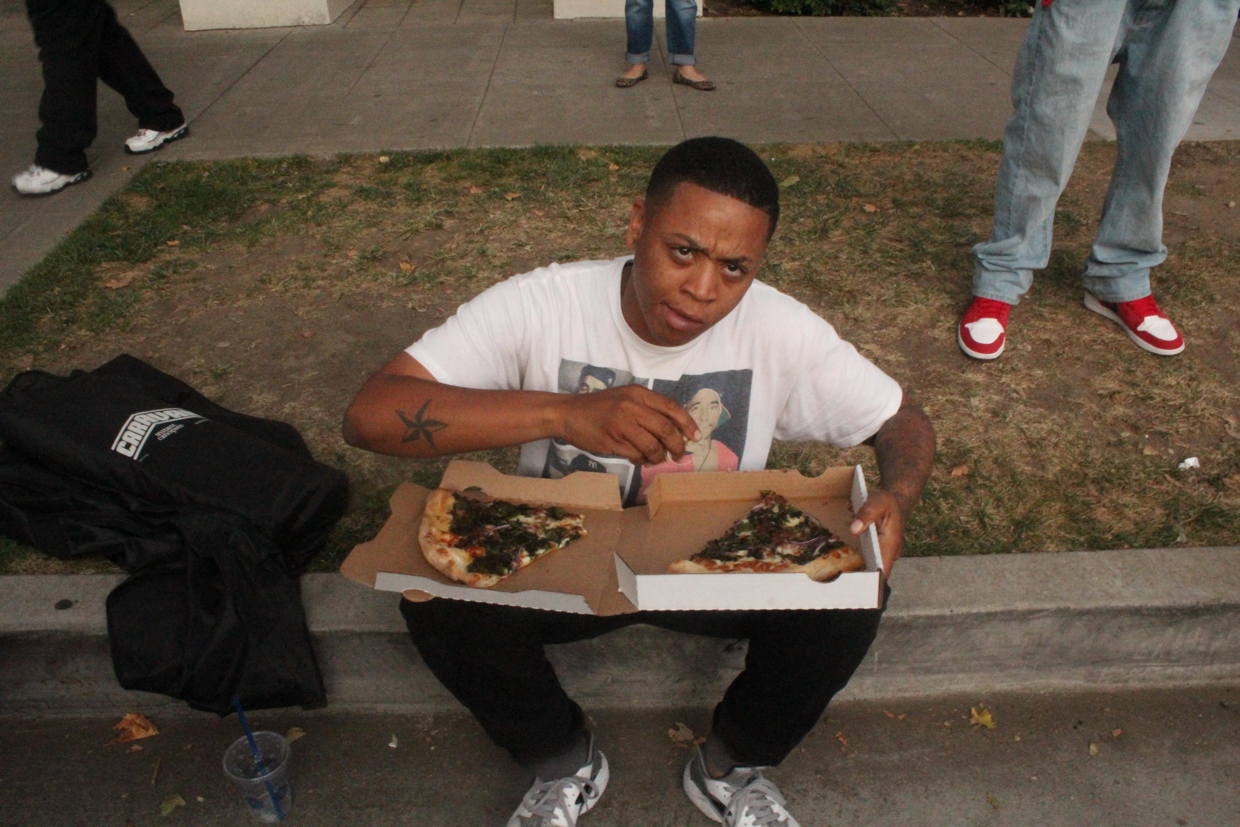 Jojo enjoying Pizza Urbano