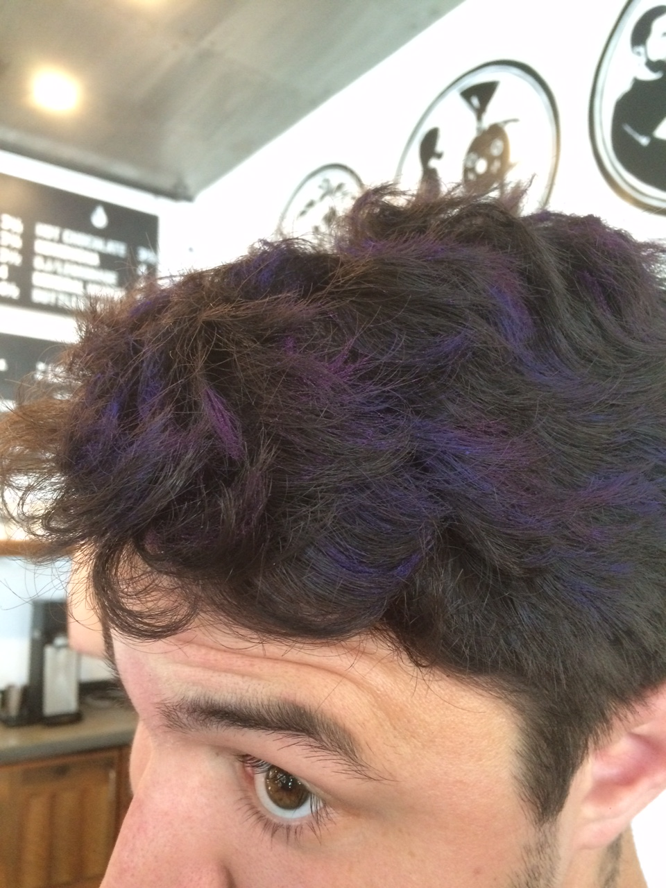 Hair Chalk on Federico employee Brian H.