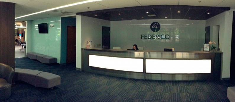 View of the front desk at Federico Beauty Institute