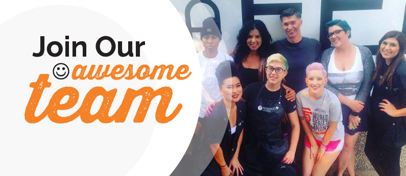 Collage graphic. On the right hand side is a group of Federico students smiling and posing for the camera. On the left are the words Join Our awesome team, and there is a smiley face in front of the word awesome.