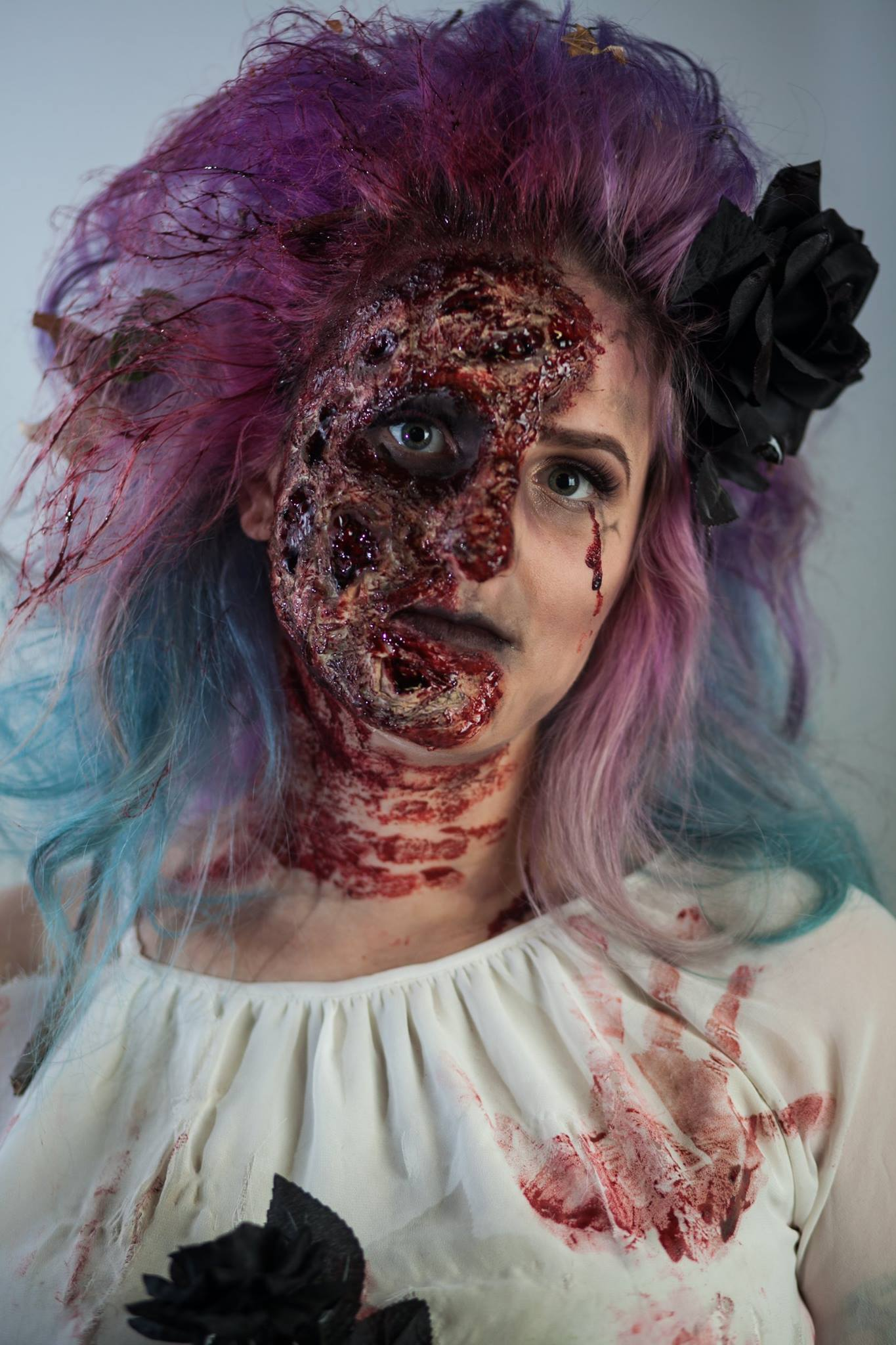 Close-up of zombie bride Halloween makeup
