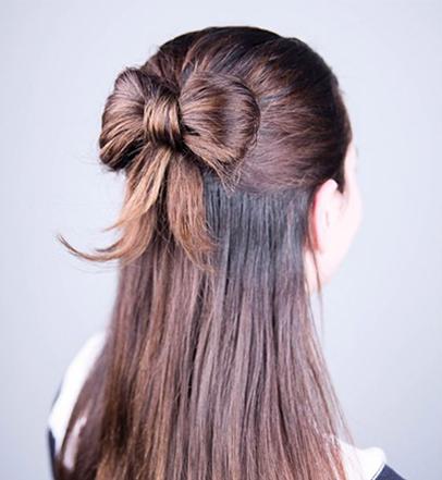 Christmas hair bow bun