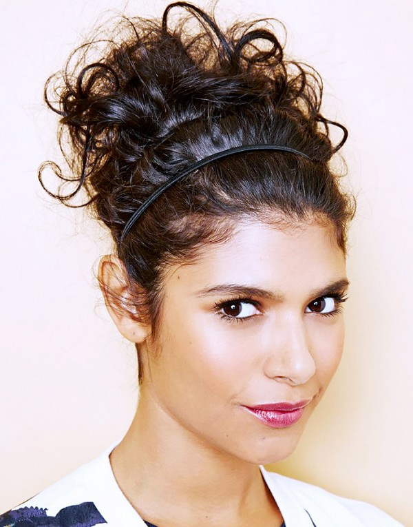 Curly updo with a headband
