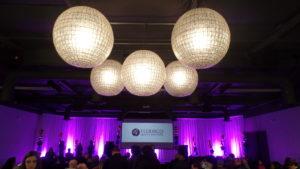 The beautiful overhead lights in the ballroom for Winter 2017 Graduation