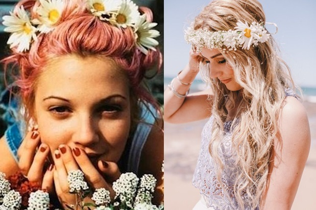 Drew Barrymore from the 90's on the right wearing a flower crown and the model on the right showing the style updated for today.