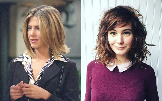 On the left is Rachael from the TV show Friends in the 90's sporting a shaggy bob and the model on the right showing the updated style for today.