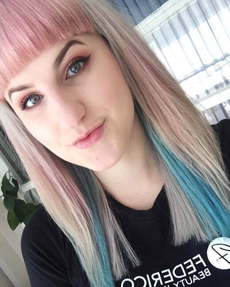 Brittney B and her pastel blonde, pink and blue hair