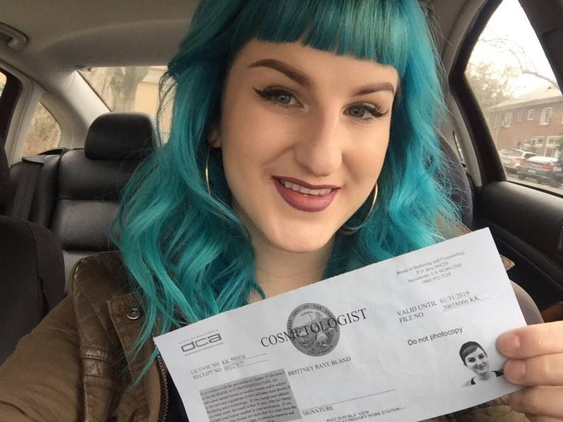 Brittney B and her cosmetologist license!