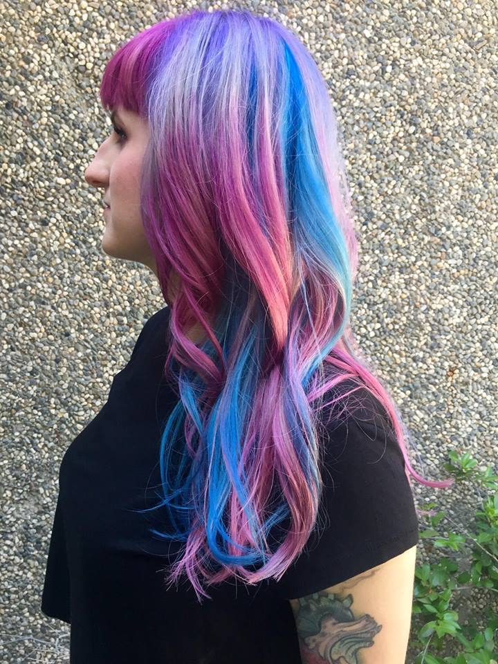 Brittney B and her cotton-candy pink and blue hair