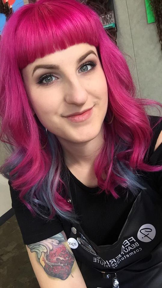 Brittney B and her hot pink hair with baby blue streaks underneath