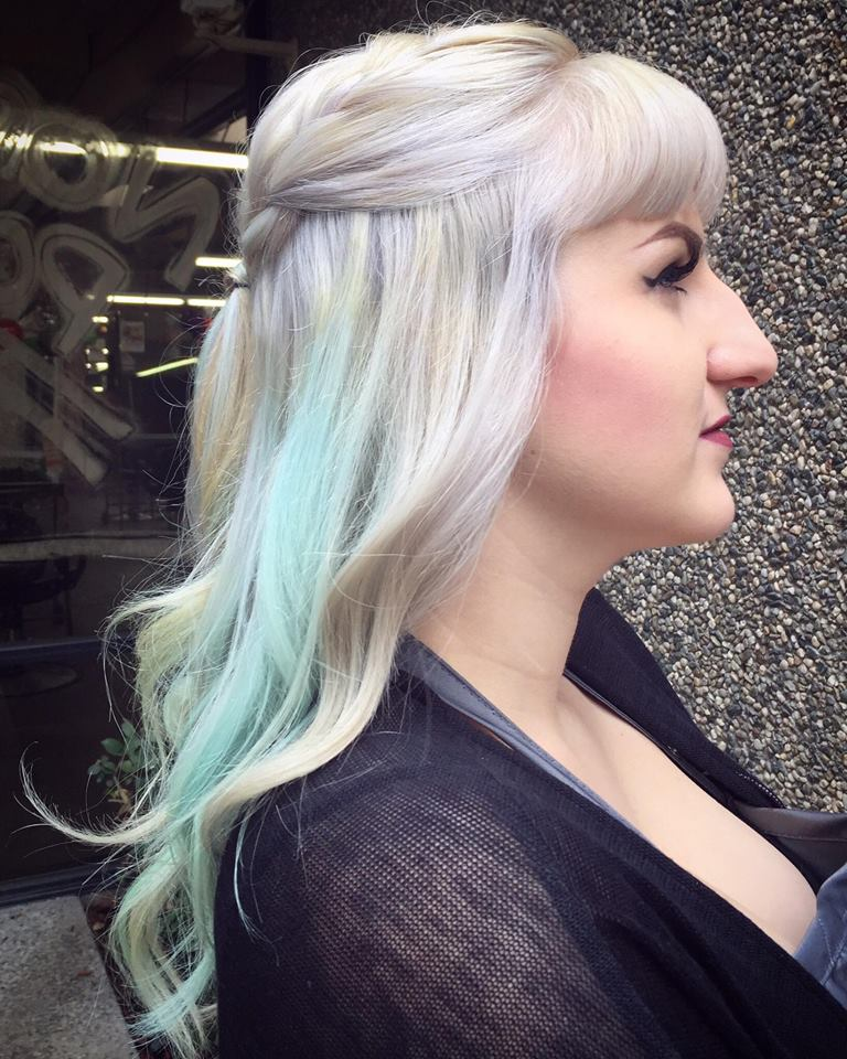 Brittney B and her silver hair with very light parts of lilac and baby blue with a hint of sunshine yellow
