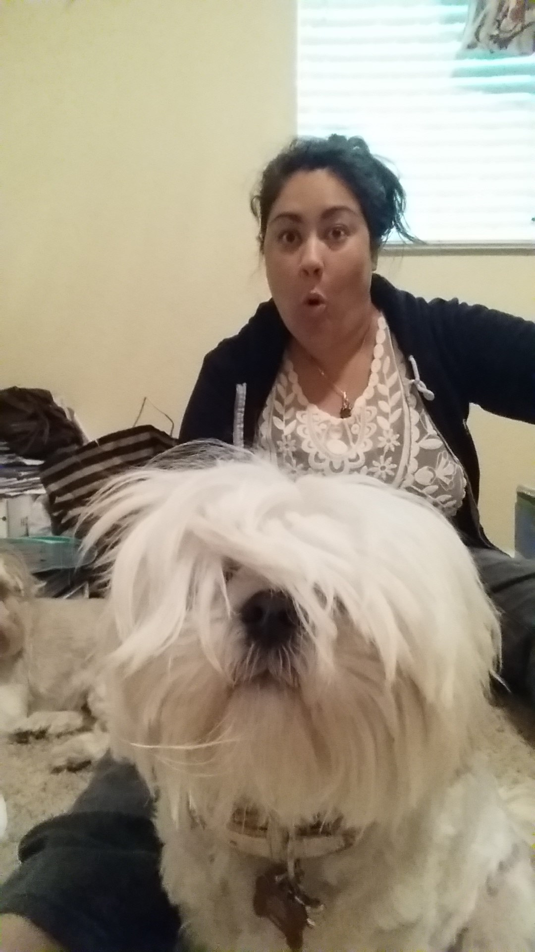 Ms. Tera, Educational Systems Manager with  her dog.