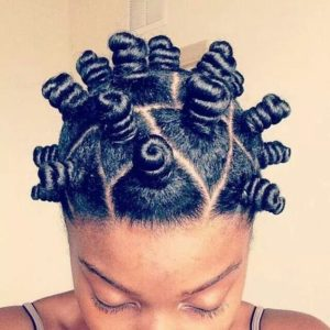 Model showing off her bantu knots.