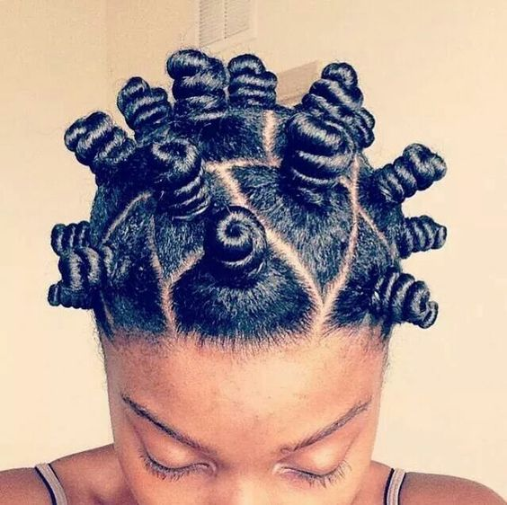 Model showing off her Bantu Knots