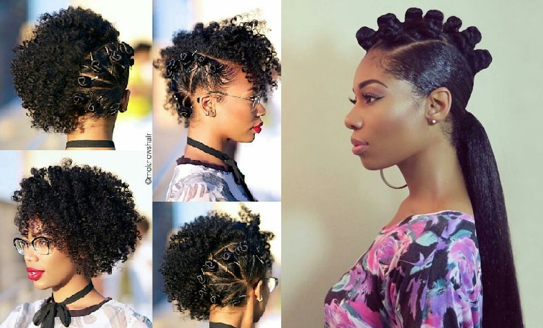 Collage of bantu knot styles.