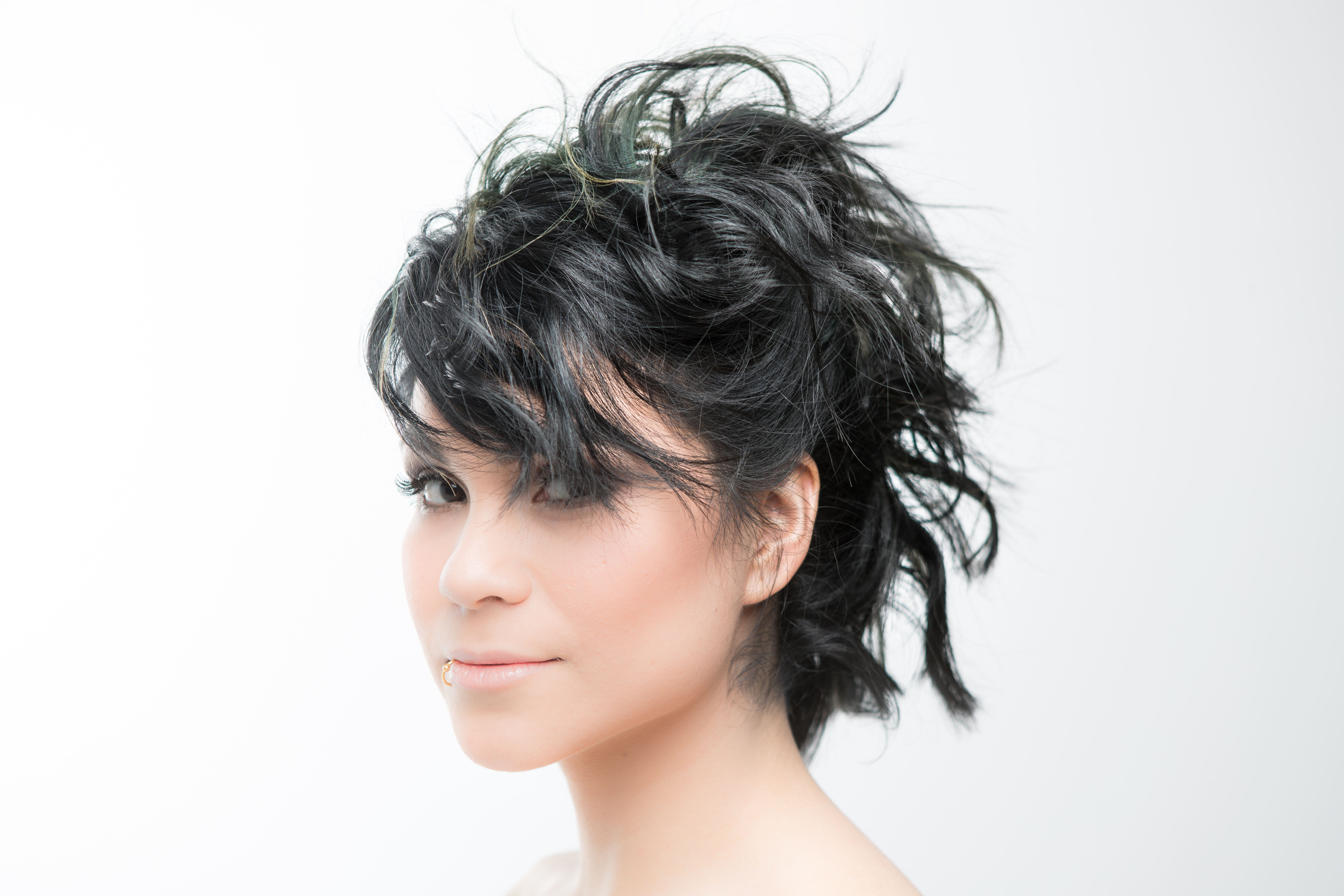 Tousled updo with a bob