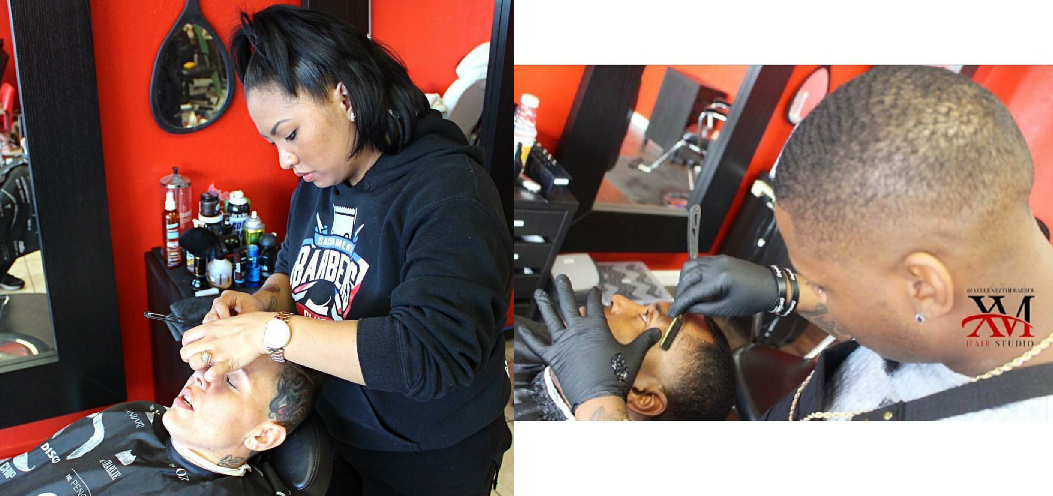 avier and Michelle White, the owners of XM Hair Studio, at work