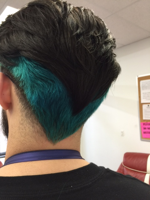 Aqua-blue colored undercut.