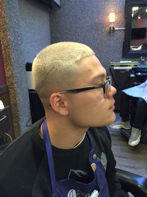 A totally bleached short cut.