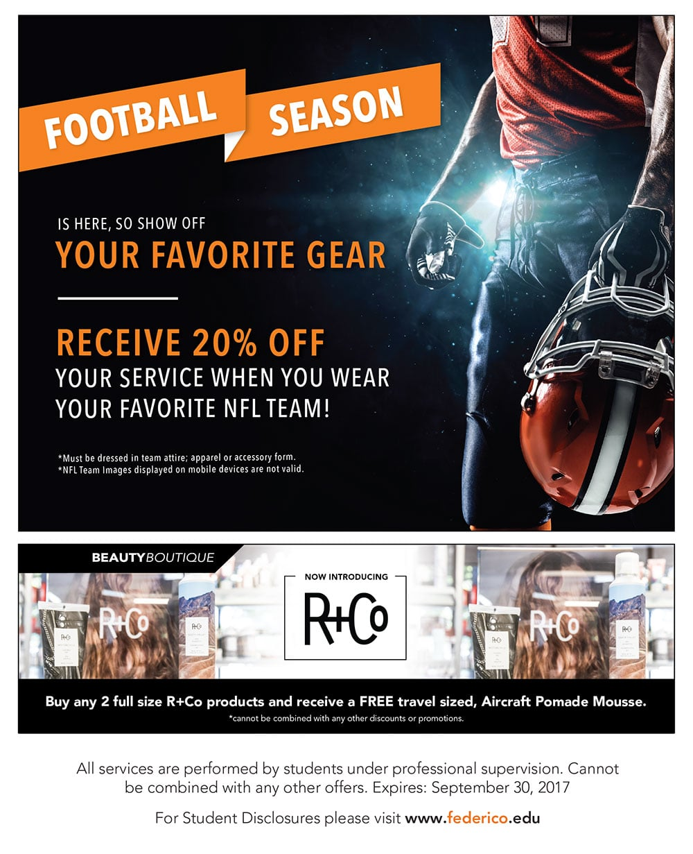 Football Season is here, so show off your favorite gear and receive 20% off your service